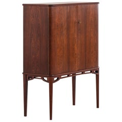 Unique Cabinet in Rosewood and Burlwood Produced in Sweden