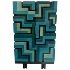 "Unique Cabinet ""Labyrinthe"" in Bleu and Grey Tinted Charm by Aymeric Lefort"