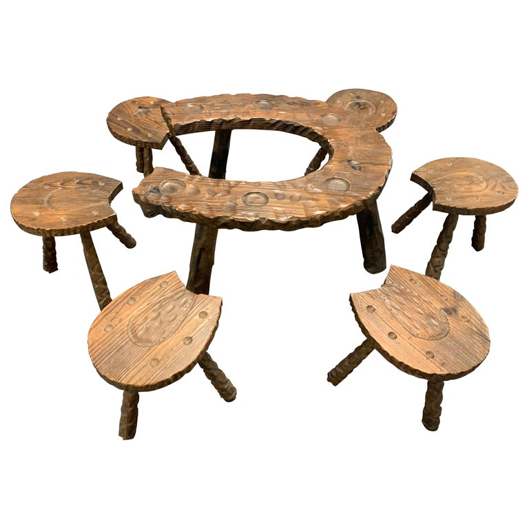 Unique Cabinetmakers Game Table, or Party Set For Sale