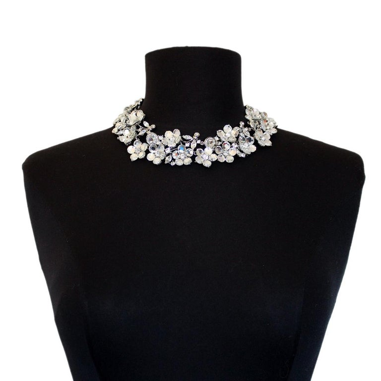 Stunning fancy piece by Carlo Zini Milano Vintage Non allergenic rhodium Amazing creation of crystals and rhinestones 100% Artisanal work Made in Milano Worldwide express shipping included in the price !