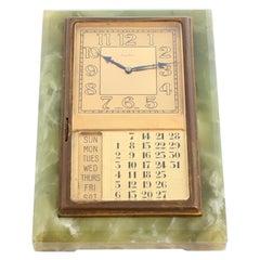 Unique Cartier Brass Mounted Calendar Desk Clock