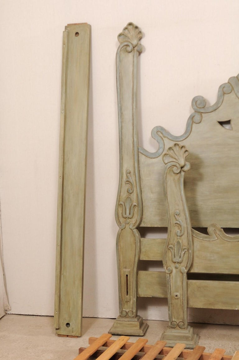 Unique Carved and Painted Wood Queen Bed Frame from Brazil For Sale 5