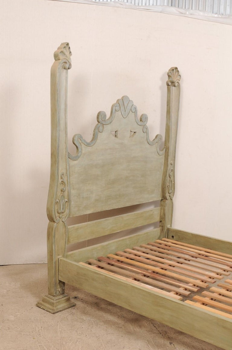 Unique Carved and Painted Wood Queen Bed Frame from Brazil In Good Condition For Sale In Atlanta, GA