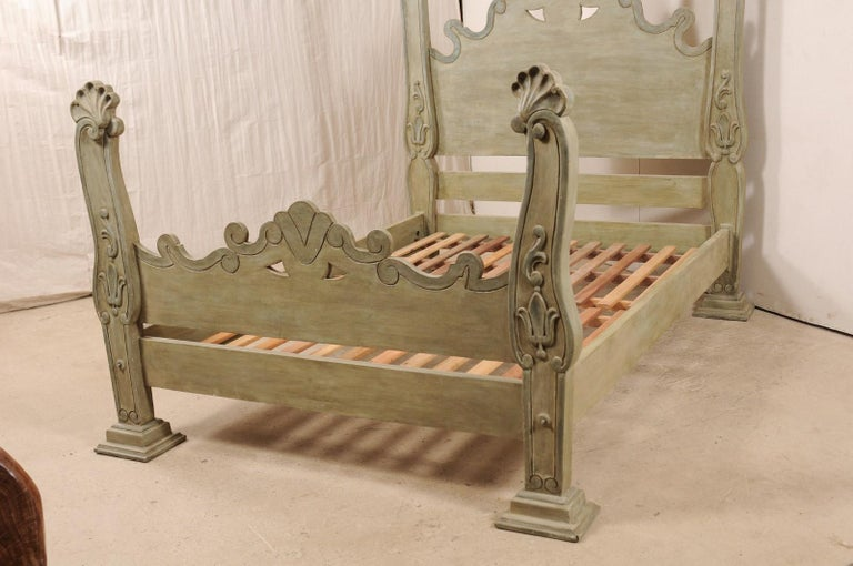 20th Century Unique Carved and Painted Wood Queen Bed Frame from Brazil For Sale
