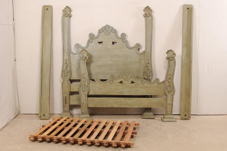Unique Carved and Painted Wood Queen Bed Frame from Brazil For Sale 4
