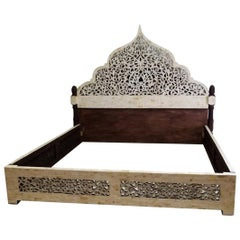 Unique Carved Camel Bone King Size Palace Bed from Morocco