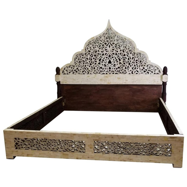 Unique carved camel bone king size palace bed from morocco - Unique beds for sale ...