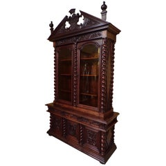 Unique Carved Oak Bookcase with Royal Connections