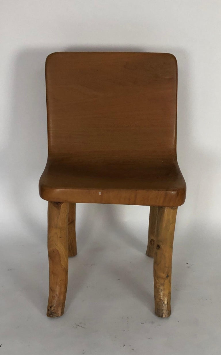 Organic Modern Unique Carved Teak Chair #2 For Sale