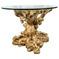 Unique Carved Wood Tree Trunk Table with Glass Top