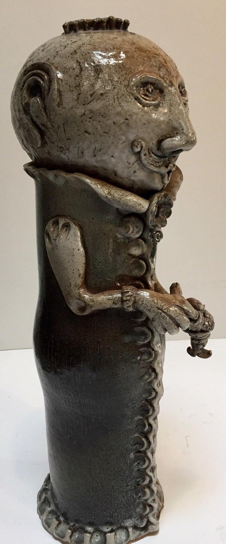 Brutalist Ceramic Sculpture Art Studio Pop Surrealist Fantasy Figure Signed For Sale 3