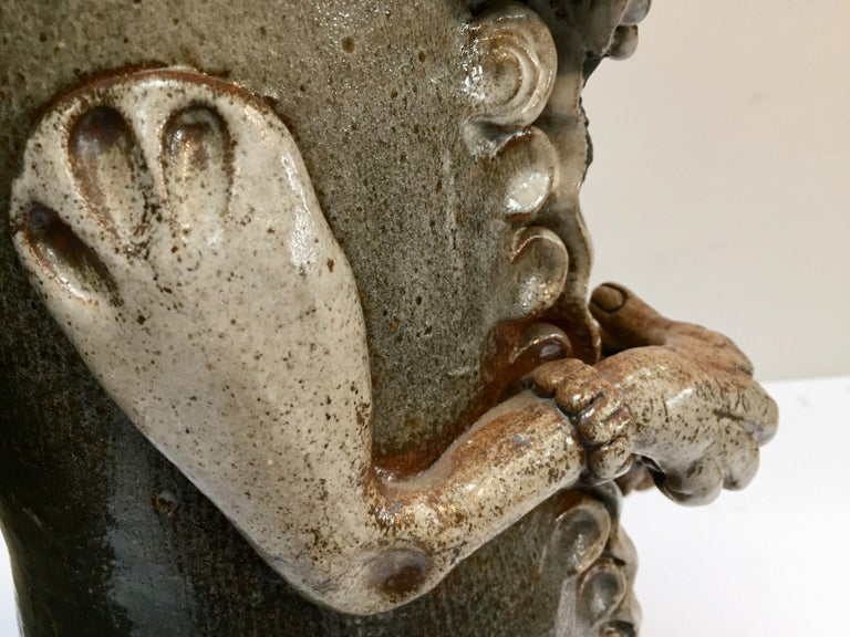 Brutalist Ceramic Sculpture Art Studio Pop Surrealist Fantasy Figure Signed For Sale 4