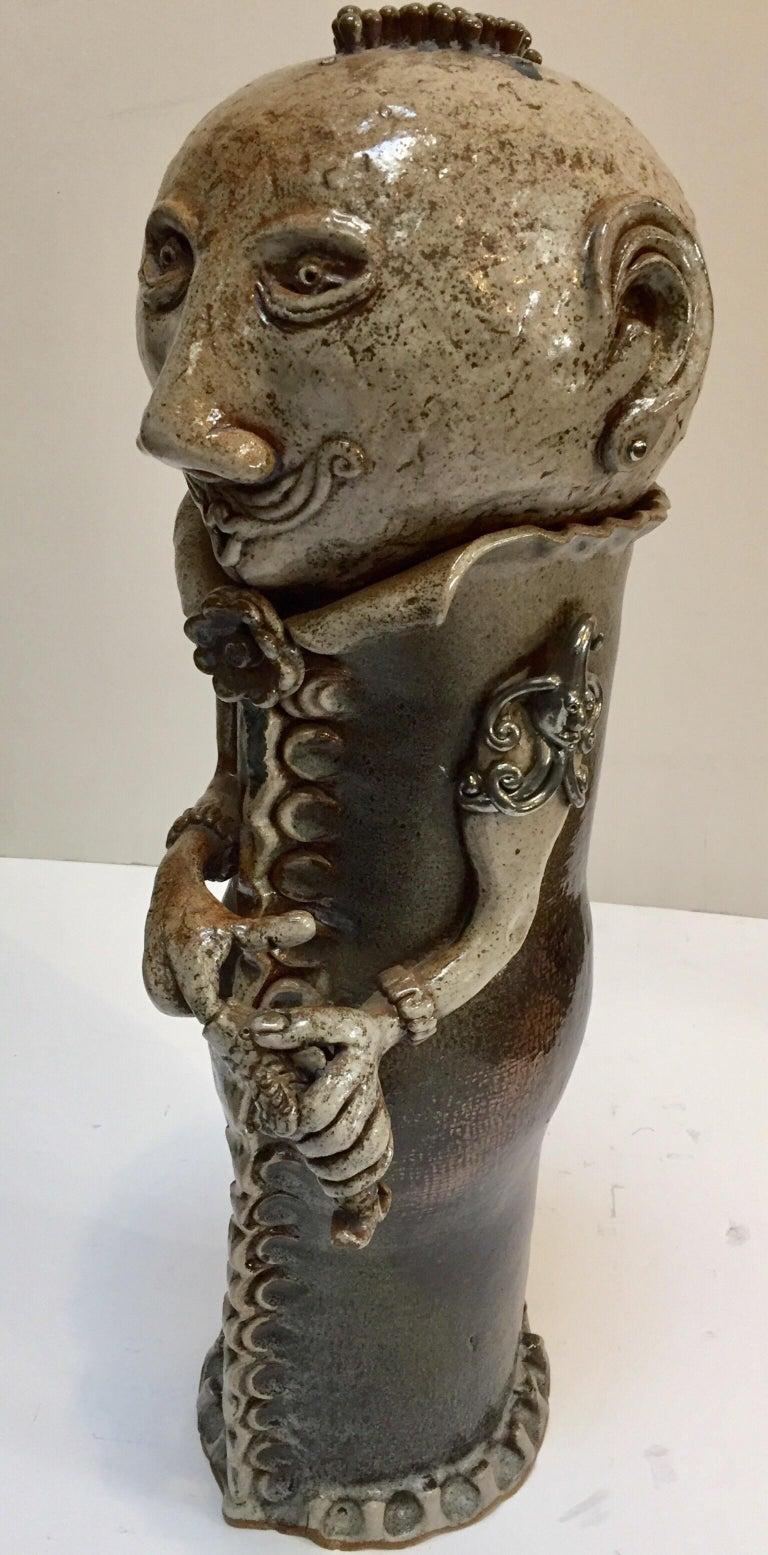 Brutalist Ceramic Sculpture Art Studio Pop Surrealist Fantasy Figure Signed For Sale 6