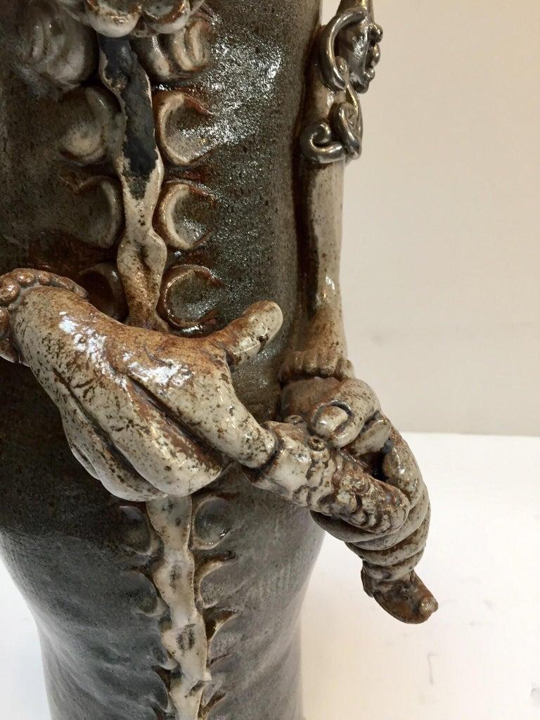 Brutalist Ceramic Sculpture Art Studio Pop Surrealist Fantasy Figure Signed For Sale 7
