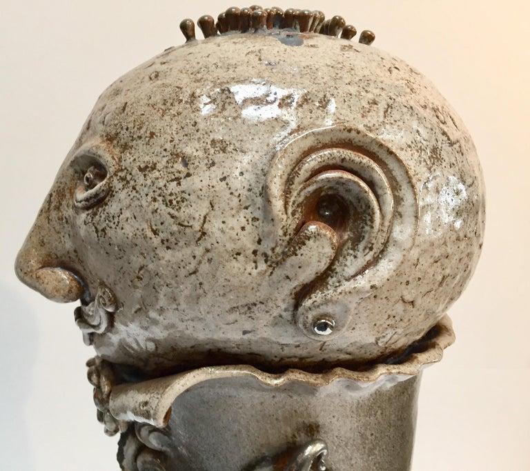 Modern Brutalist Ceramic Sculpture Art Studio Pop Surrealist Fantasy Figure Signed For Sale