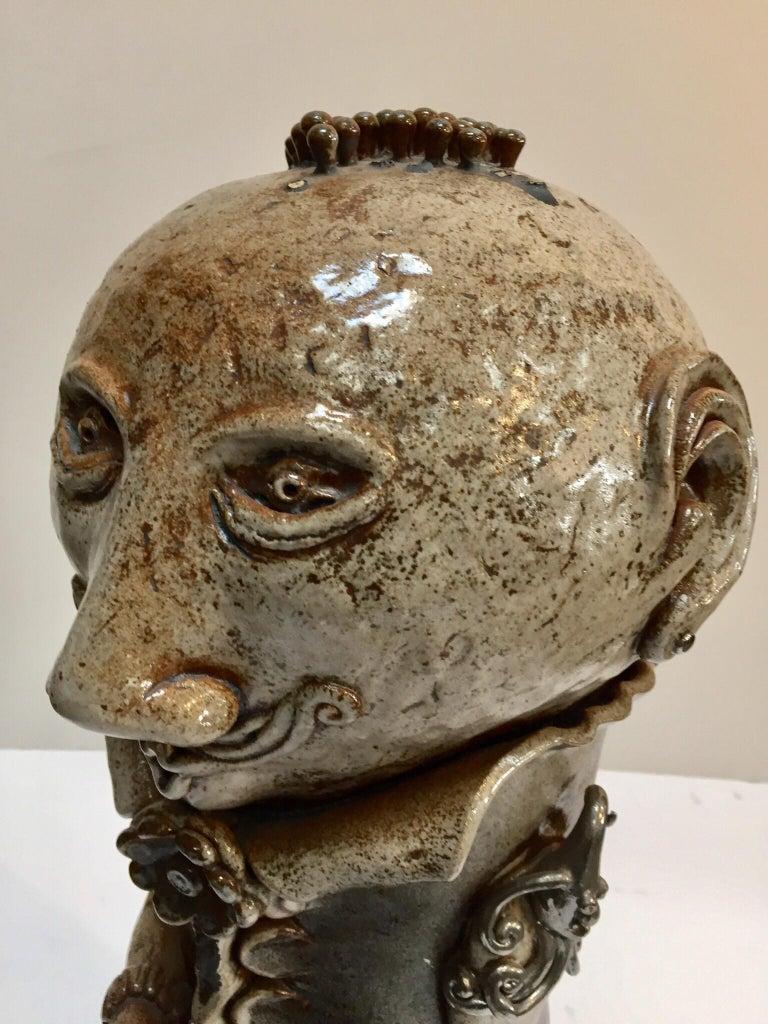 American Brutalist Ceramic Sculpture Art Studio Pop Surrealist Fantasy Figure Signed For Sale