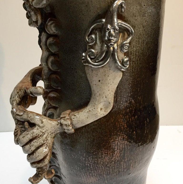 20th Century Brutalist Ceramic Sculpture Art Studio Pop Surrealist Fantasy Figure Signed For Sale