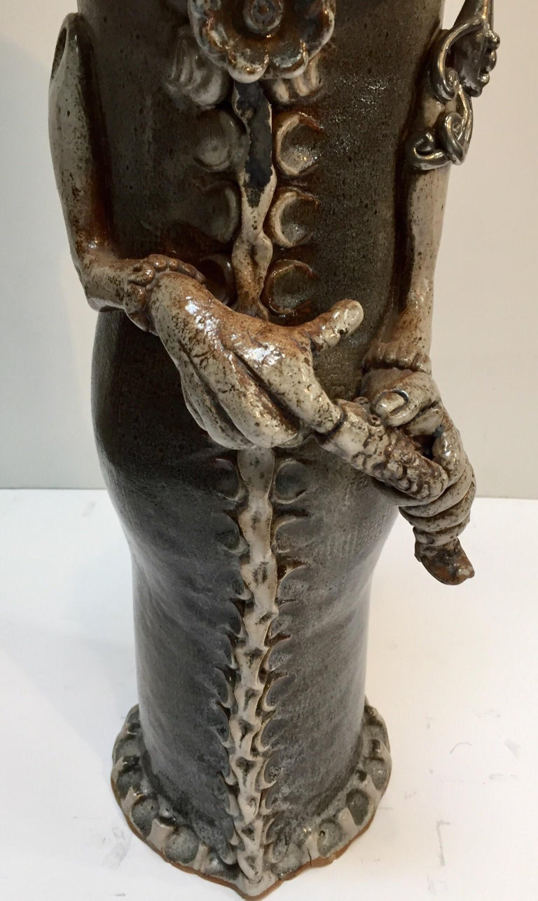 Brutalist Ceramic Sculpture Art Studio Pop Surrealist Fantasy Figure Signed For Sale 1