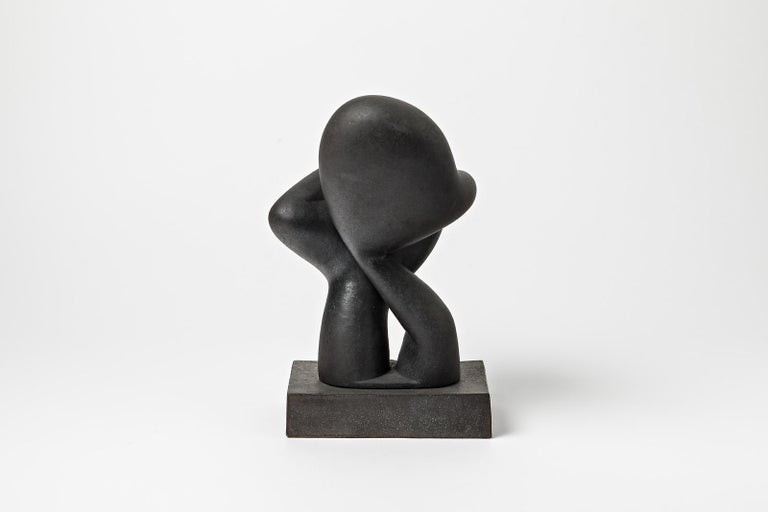 An unique ceramic sculpture with black glaze decoration by Pierre Martinon. Perfect original conditions. Signed at the base