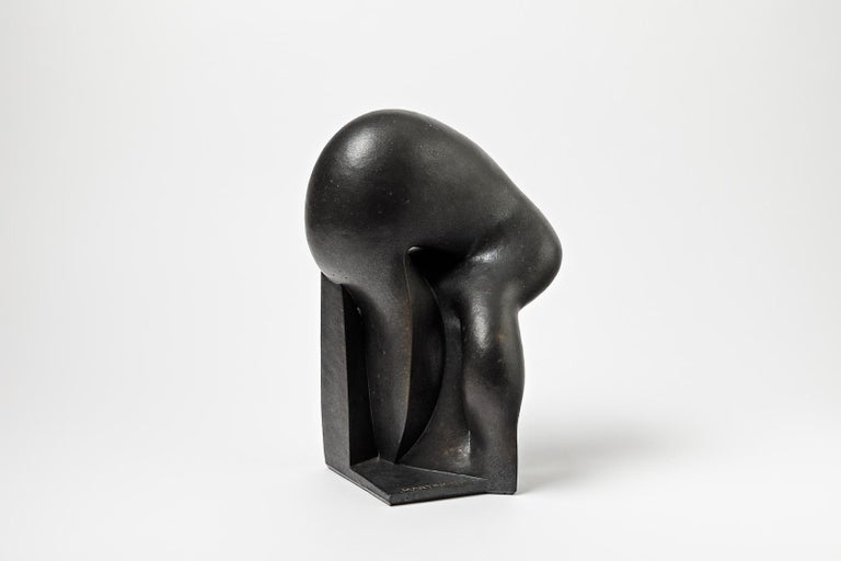 An unique ceramic sculpture with black glaze decoration by Pierre Martinon.