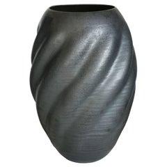 Unique Ceramic Sculpture Vessel N.55, Black Wave Form, Objet d'Art