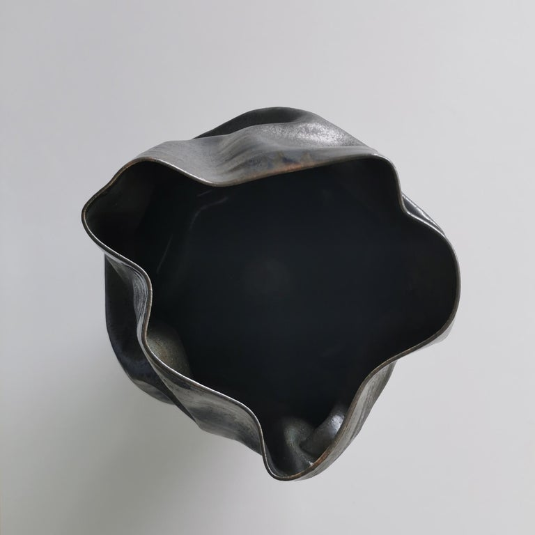 Unique Ceramic Sculpture Vessel N.57, Black Dehydrated Form, Objet d'Art 2