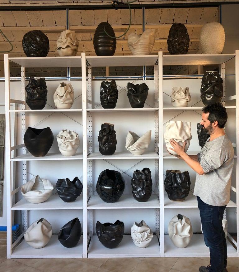 Unique Ceramic Sculpture Vessel N.57, Black Dehydrated Form, Objet d'Art 3