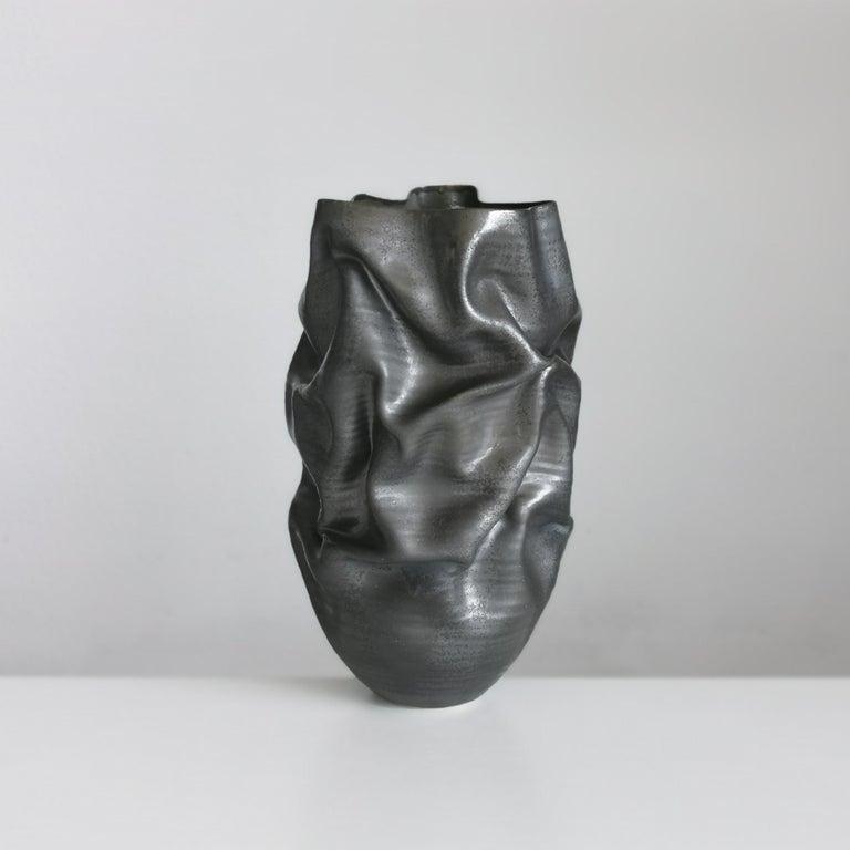 Organic Modern Unique Ceramic Sculpture Vessel N.57, Black Dehydrated Form, Objet d'Art