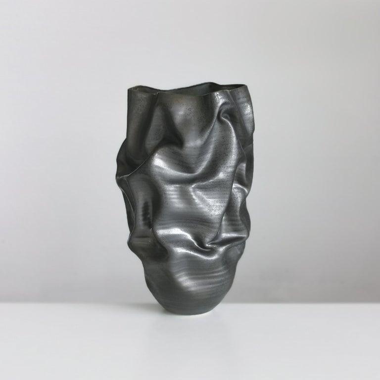 Other Unique Ceramic Sculpture Vessel N.57, Black Dehydrated Form, Objet d'Art