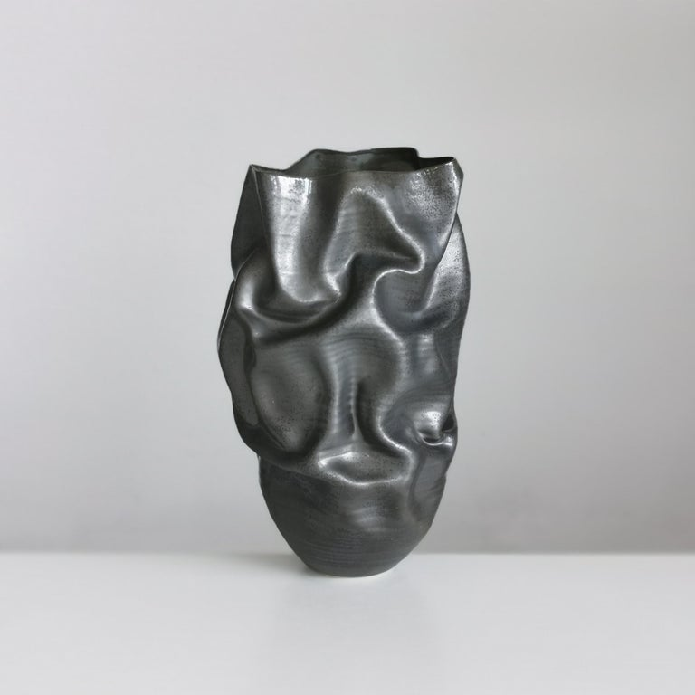 Unique Ceramic Sculpture Vessel N.57, Black Dehydrated Form, Objet d'Art In New Condition In London, GB