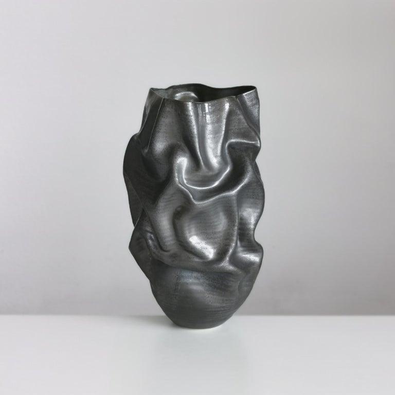 Contemporary Unique Ceramic Sculpture Vessel N.57, Black Dehydrated Form, Objet d'Art