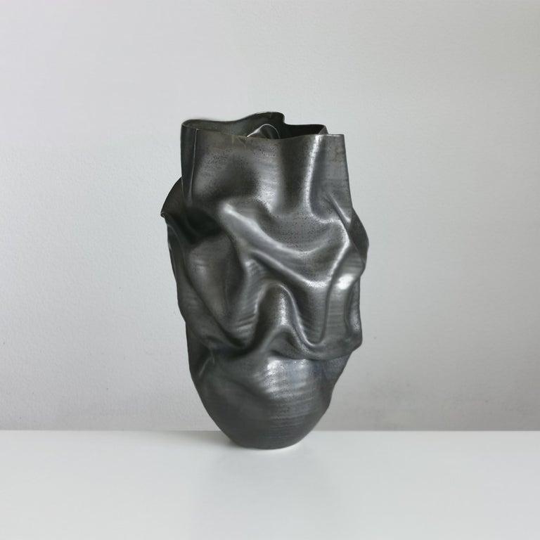 Clay Unique Ceramic Sculpture Vessel N.57, Black Dehydrated Form, Objet d'Art