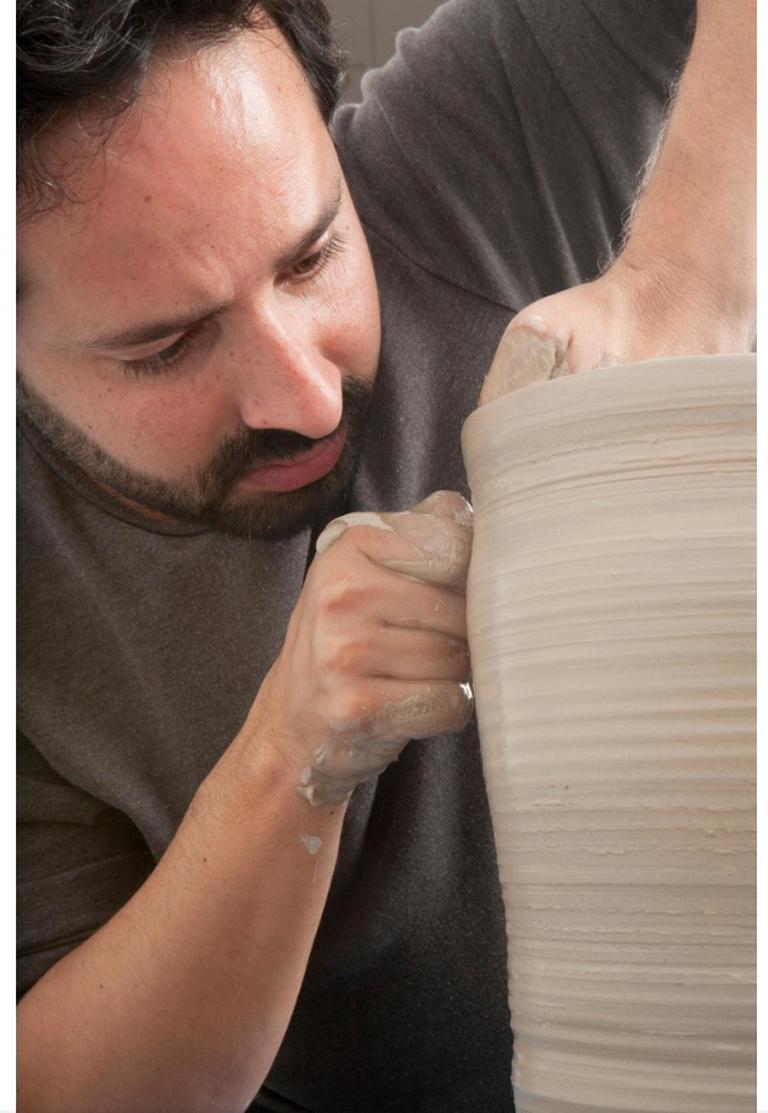 Unique Ceramic Sculpture Vessel N.57, Black Dehydrated Form, Objet d'Art 1
