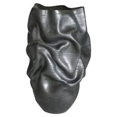 Unique Ceramic Sculpture Vessel N.57, Black Dehydrated Form, Objet d'Art