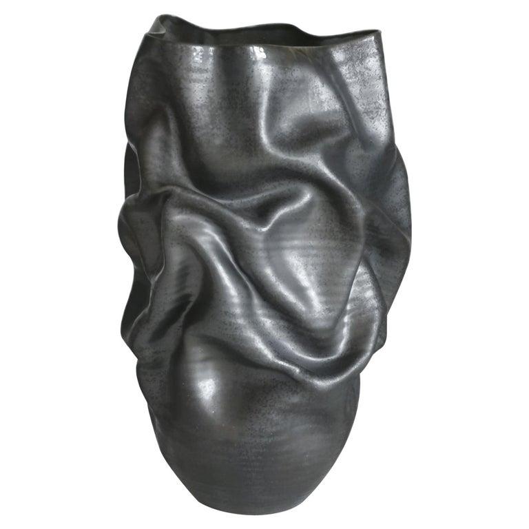 Unique Ceramic Sculpture Vessel N.57, Black Dehydrated Form, Objet d'Art