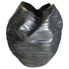 Unique Ceramic Sculpture Vessel N.58, Black Ribbed Undulating Form, Objet d'Art