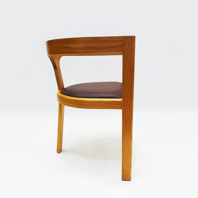 A unique first Edition 1999 desk or side chair in cherrywood and leather by Danish Master Craftsmen Rud Thygesen and Niels Roth Andersen  Famous for producing furniture for Danish King Frederik IX in 1970 Rud Thygesen and Johnny Sørensen went on