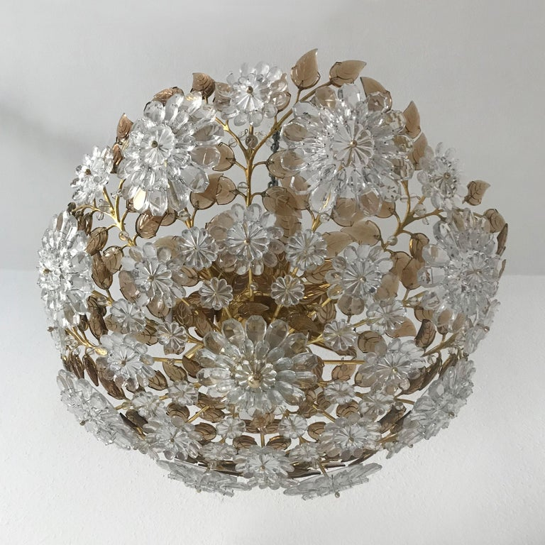 Unique Chandelier or Flush Mount in the Style of Oswald Haerdtl, Lobmeyr, 1960s For Sale 2
