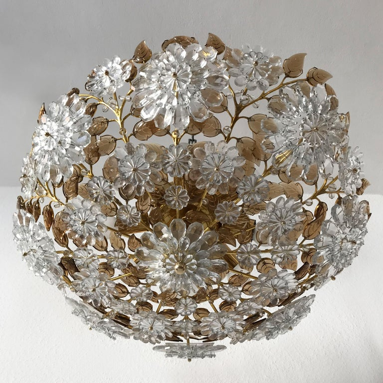 Unique Chandelier or Flush Mount in the Style of Oswald Haerdtl, Lobmeyr, 1960s For Sale 3