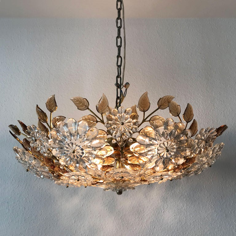 Gorgeous, exceptional Mid-Century Modern flower crystal chandelier or flush mount fixture in the Style of Oswald Haerdt for Lobmeyr, 1960s. A product of uncompromising craftsmanship and quality.
