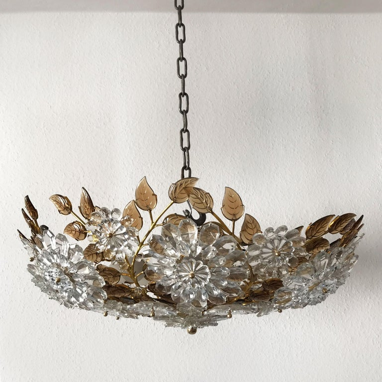 Gilt Unique Chandelier or Flush Mount in the Style of Oswald Haerdtl, Lobmeyr, 1960s For Sale