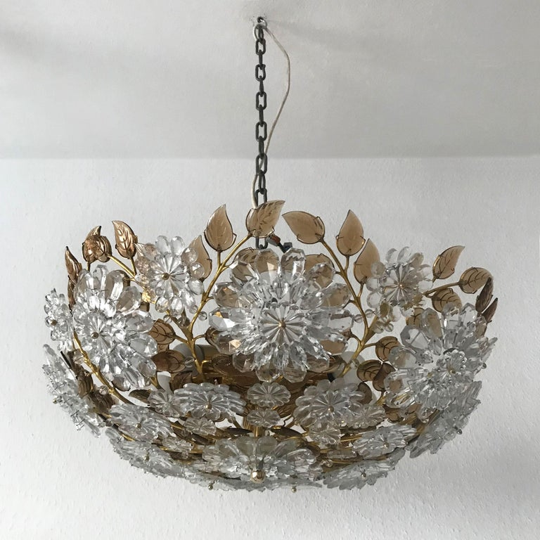 Unique Chandelier or Flush Mount in the Style of Oswald Haerdtl, Lobmeyr, 1960s In Good Condition For Sale In Munich, DE