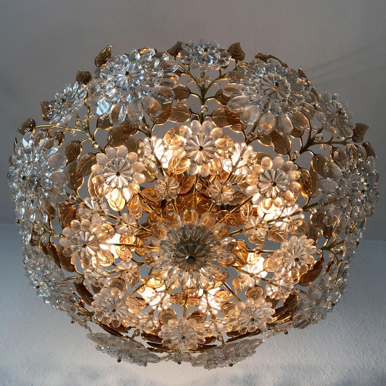 Brass Unique Chandelier or Flush Mount in the Style of Oswald Haerdtl, Lobmeyr, 1960s For Sale