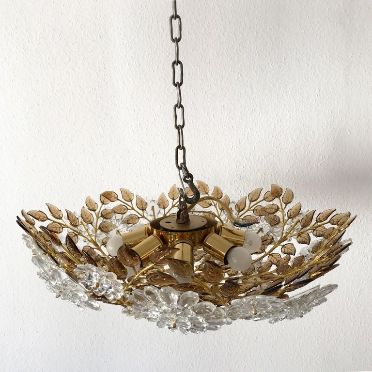 Unique Chandelier or Flush Mount in the Style of Oswald Haerdtl, Lobmeyr, 1960s For Sale 1