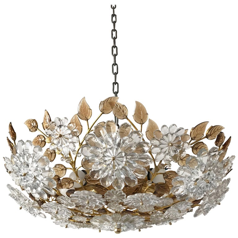 Unique Chandelier or Flush Mount in the Style of Oswald Haerdtl, Lobmeyr, 1960s For Sale