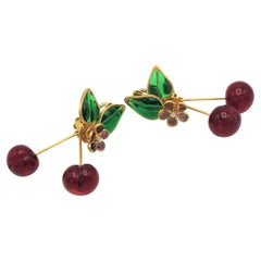 Unique Chanel ear clip in the shape of cherry from the house of Gripoix Paris