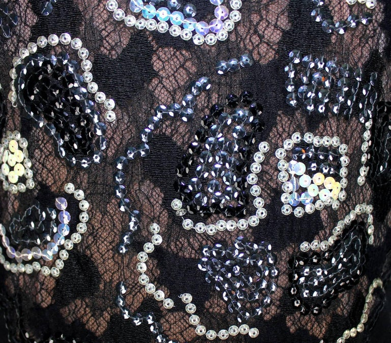 Unique Chanel Sequin Camellia Lace Embroidered Evening Dress Gown For Sale 2