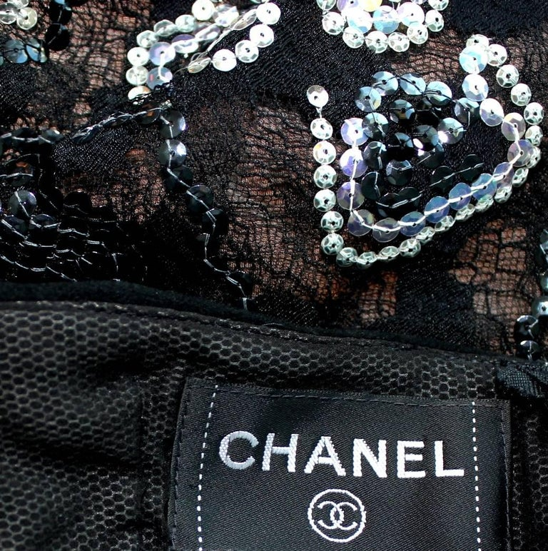 Unique Chanel Sequin Camellia Lace Embroidered Evening Dress Gown For Sale 3