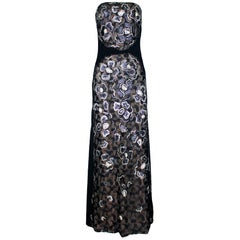 Unique Chanel Sequin Camellia Lace Embroidered Evening Dress Gown