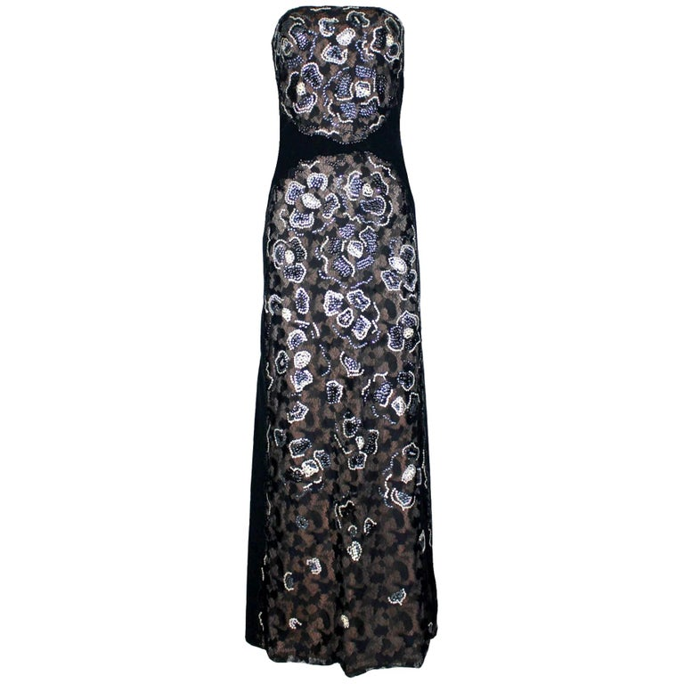Unique Chanel Sequin Camellia Lace Embroidered Evening Dress Gown For Sale